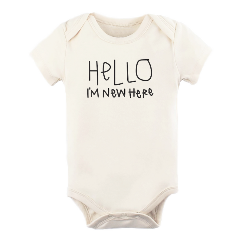 Hello Im New Here - Organic Bodysuit - Cream