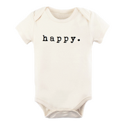 happy. happy onesie, onsie, onzie, bodysuit, baby, girl, boy, baby shower gift, newborn, organic cotton, made in usa, cream, natural, boho, minimal, minimalist baby clothes, graphic, typewriter font, timeless