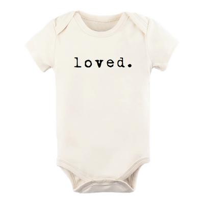 loved onesie, onzie, onsie, typerighter, typewriter font, loved., gender neutral baby clothes, unisex bodysuit, baby shower gift