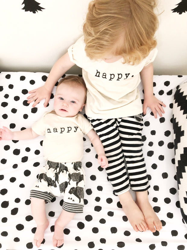 Happy, Baby, Girl, Boy, Infant, Toddler, Newborn, Organic, Bodysuit, Outfit, One Piece, Unisex, Gender Neutral, Words, typewriter font, cream, natural color, onesie, onsie, onzie, monochrome crib bedding, outfits, brother sister matching shirts