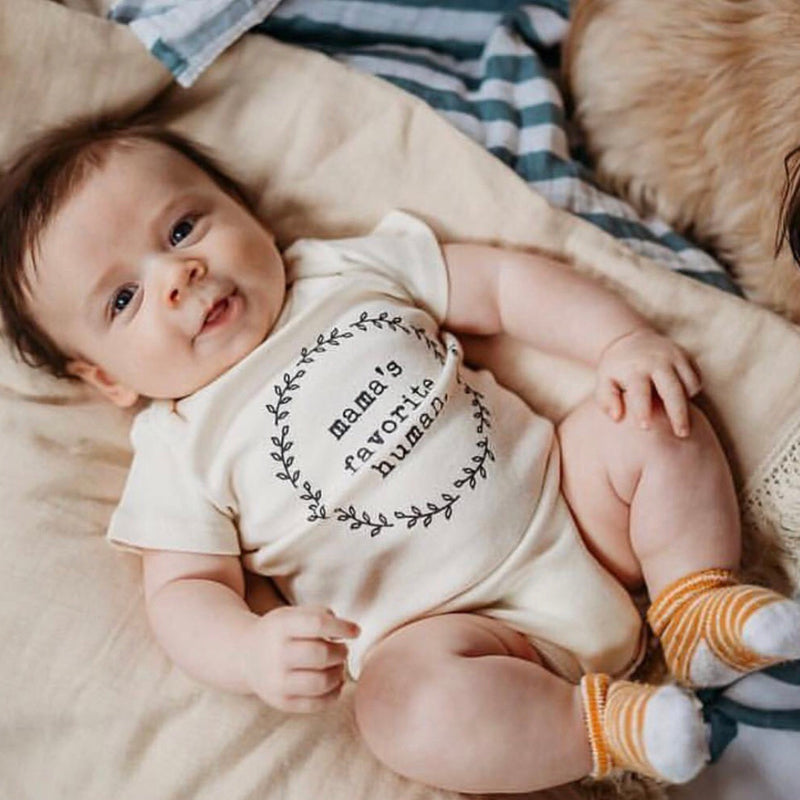 Mamas Favorite Human, Baby, Girl, Boy, Infant, Toddler, Newborn, Organic, Bodysuit, Outfit, One Piece, Unisex, Gender Neutral, Laurel, Quote, Wreath, onesie, onzie, onsie, cream, natural, color