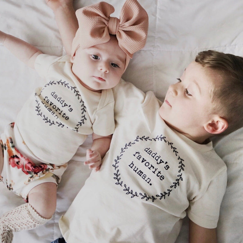 Daddy's Favorite Human, Baby, Girl, Boy, Infant, Toddler, Newborn, Organic, Bodysuit, Outfit, One Piece, Unisex, Gender Neutral, Boho, laurel, wreath, cream, natural color, onesie, onzie, onsie, brother and sister sibling picture, large baby bow