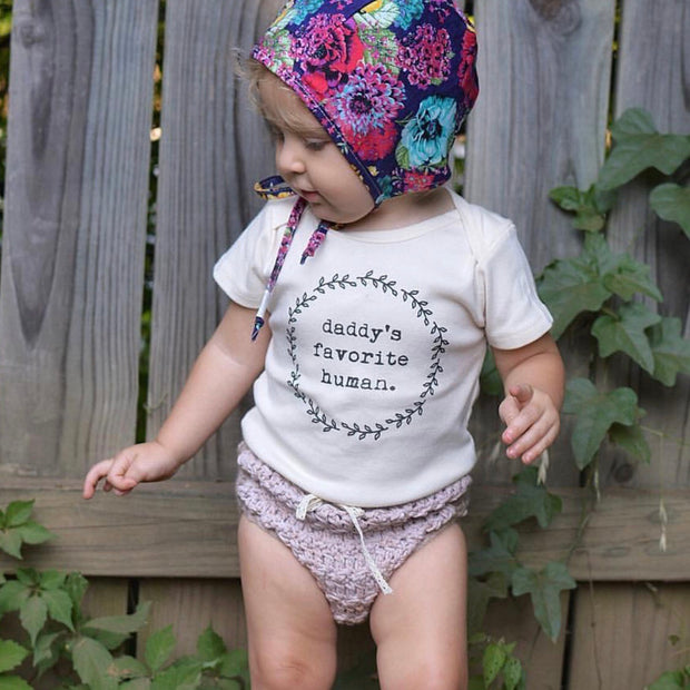 Daddy's Favorite Human, Baby, Girl, Boy, Infant, Toddler, Newborn, Organic, Bodysuit, Outfit, One Piece, Unisex, Gender Neutral, Boho, laurel, wreath, cream, natural color, onsie, onesie, onzie, floral baby bonnet, knitted bloomers, fathers day baby gift