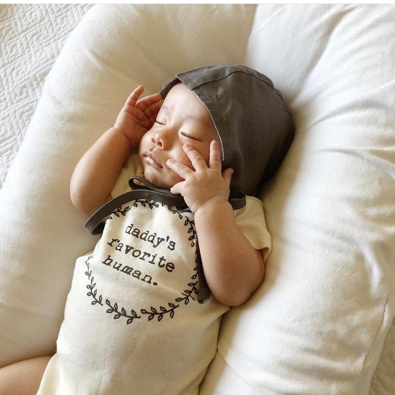 Daddy's Favorite Human, Baby, Girl, Boy, Infant, Toddler, Newborn, Organic, Bodysuit, Outfit, One Piece, Unisex, Gender Neutral, Boho, laurel, wreath, onesie, onzie, onsie, cream natural color, sleeping baby