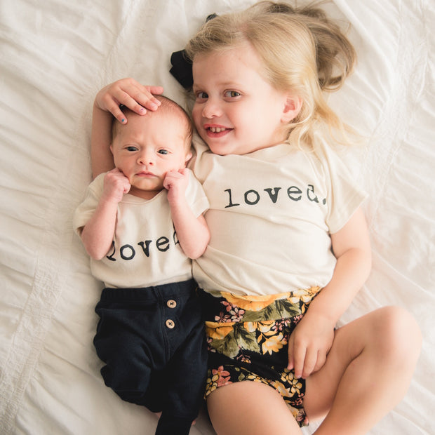 Loved, Baby, Girl, Boy, Infant, Toddler, Newborn, Organic, Bodysuit, Outfit, One Piece, Unisex, Gender Neutral, Words, Quote, onesie, onsie, onzie, cream, natural color, typewriter font