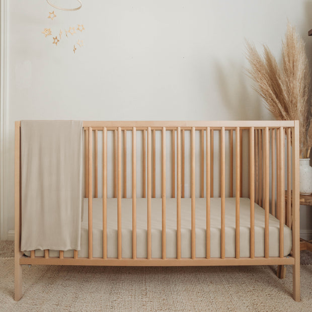 sand natural flax cream bamboo organic crib sheet made in usa baby boy girl nursery boho minimal newborn