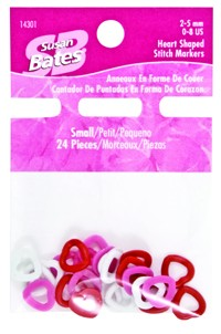 Stitch Markers, Heart Shaped, Medium, 5-9 mm, 18 Pieces, Susan Bates, 14302