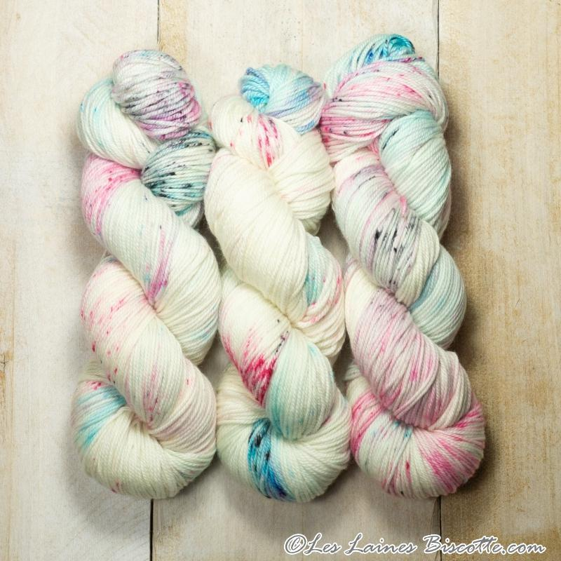 Biscotte Yarns, Bis-Sock, Speckled, 85% Merino Superwash, 15% Nylon, #1 Fingering