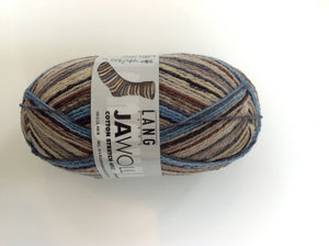Lang, JAWOLL, Sock Yarn, Blue/Brown, Fingering, Colour 906.0015