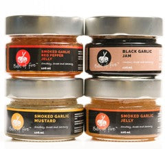 Gift Pack - Garlic Preserve Sampler (3 x 106ml Smoked Garlic and 1 x 106 ml Black Garlic Preserves)