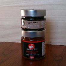 2 Pack - Black Garlic Jam and large Smoked Garlic Red Pepper Jelly