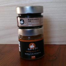 Bulbs of Fire Preserve - 2 Pack includes Black Garlic Jam (106ml) and Large Smoked Garlic Jelly (212 ml)