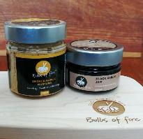 Bulbs of Fire 2 Pack - Includes Black Garlic Jam and Large Jar Smoked Garlic Mustard