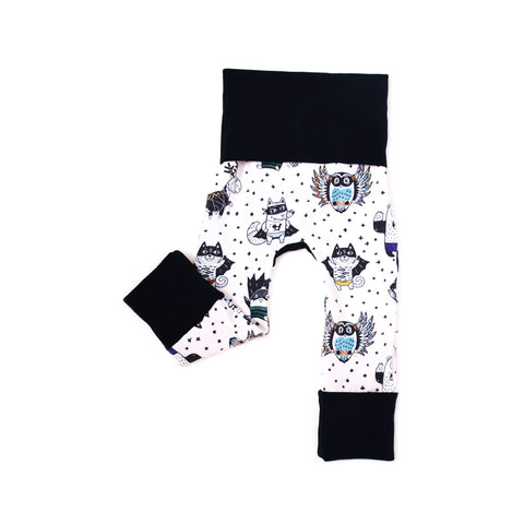 animal superhero gender neutral grow with me leggings by bear and bunny co
