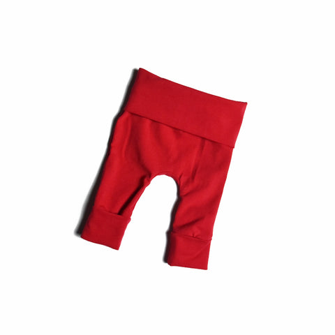 Solid red baby grow with me leggings handmade by Bear and Bunny Co