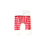 Cranberry Stripe Holiday newborn grow-with-me leggings by Bear & Bunny Co.