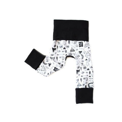 Dreaming of Adventures forest friends monochrome grow with me toddler baby leggings by Bear & Bunny Co.