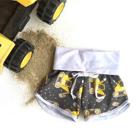 SALE! construction truck digger grow with me shorties for baby boys by Bear and Bunny Co.