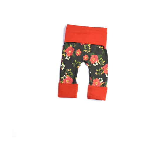 Floral in Rust Leggings - NEWBORN