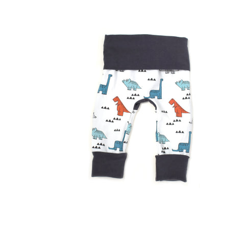 Funky Dinosaur grow-with-me leggings handmade by Bear and Bunny Co