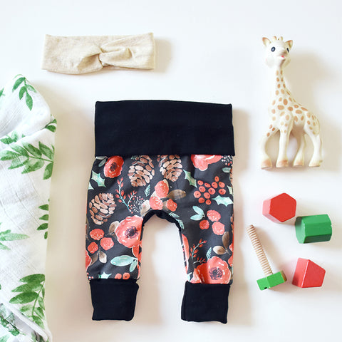 Holiday Floral Leggings - NEWBORN