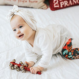 Holiday Floral newborn grow-with-me baby leggings by Bear and Bunny Co