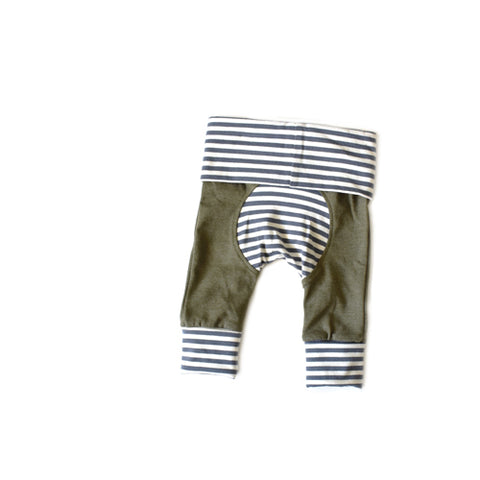olive and dark grey stripe grow with me leggings for newborn baby - gender neutral