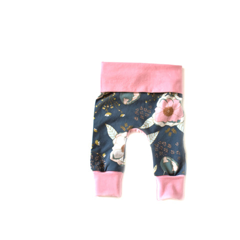 Pink Peony floral girls baby grow with me leggings by Bear + Bunny Co.