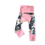Girly pink peony grow with me toddler leggings by Bear + Bunny Co.