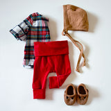 SALE // Solid Red Leggings - NEWBORN