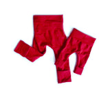 Solid Red unisex grow-with-me baby leggings by Bear & Bunny Co.
