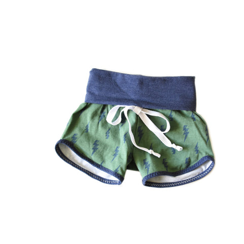 SALE! Lightning bolt baby newborn grow with me shorties by Bear and Bunny Co - handmade in the USA