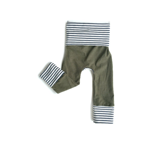 olive and grey striped toddler grow with me leggings by bear and bunny co