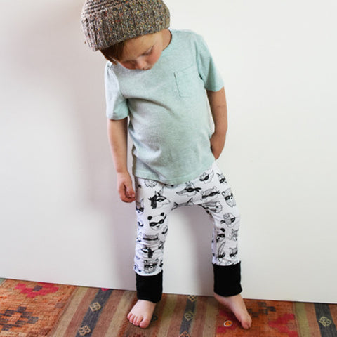 Animal Bandit monochrome grow with me cloth diaper pants by Bear & Bunny Co.