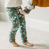 Winter Floral green flower grow with me girls leggings - handmade by Bear and Bunny Co.