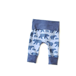 Bear Family wild animal newborn baby grow with me leggings