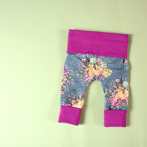 celestial blooms floral grey magenta grow with me leggings handmade by bear and bunny co