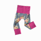 floral grey magenta grow with me leggings handmade by bear and bunny co