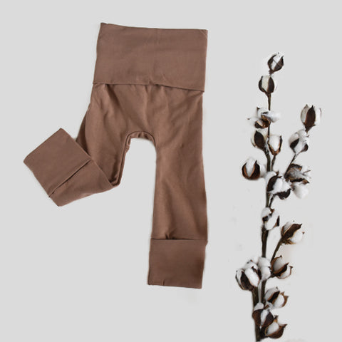 spring mocha toddler grow with me leggings by bear and bunny co