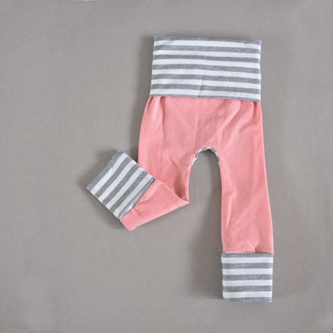 Dusty pink rose and grey striped grow-with-me leggings handmade by Bear & Bunny Co.
