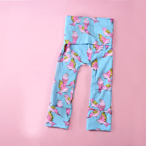 hummingbird blue and pink girls toddler grow with me leggings by Bear & Bunny Co.
