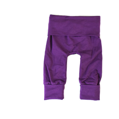 gender neutral plum purple grow with me baby leggings