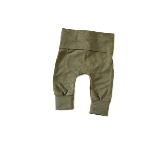 Solid Olive Green toddler grow with me leggings