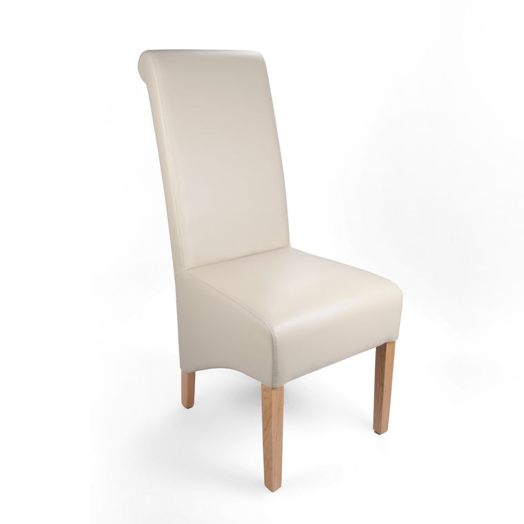 Shankar Ivory Leather Match Roll Back Dining Chair
