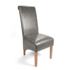 Shankar Grey Leather Match Roll Back Dining Chair
