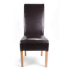 Shankar Brown Leather Match Roll Back Dining Chair