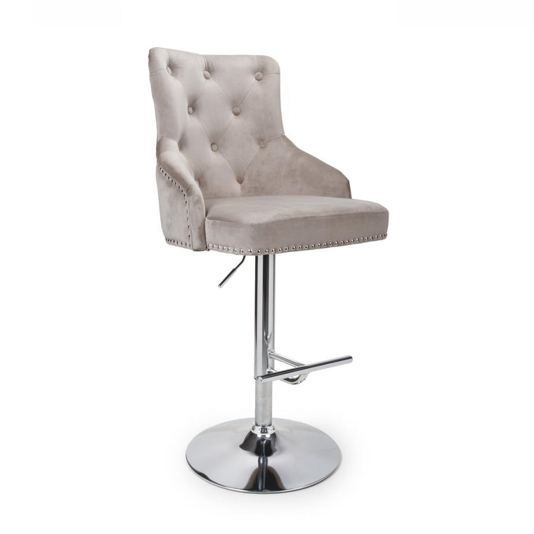 Hawksmoor Mink Brushed Velvet Chais Luxury Bar Stool