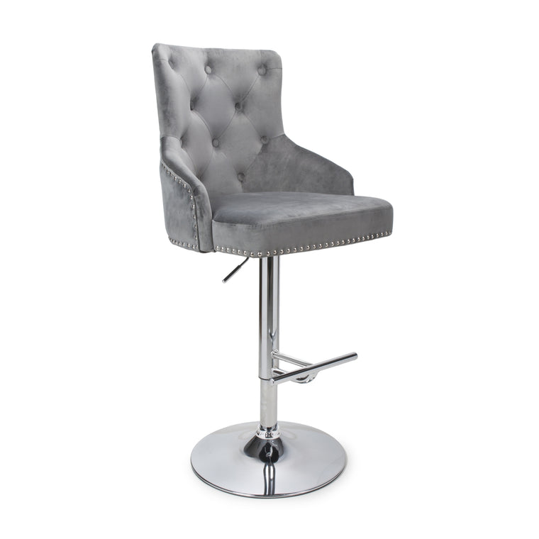 Hawksmoor Grey Brushed Velvet Bar Stool
