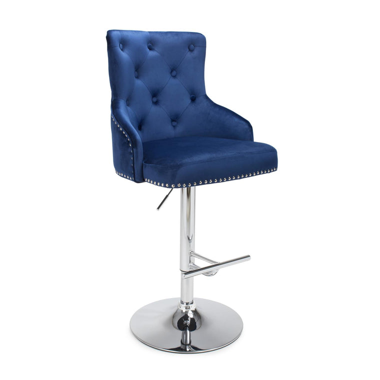 Hawksmoor Ocean Blue Brushed Velvet Luxury Bar Stool