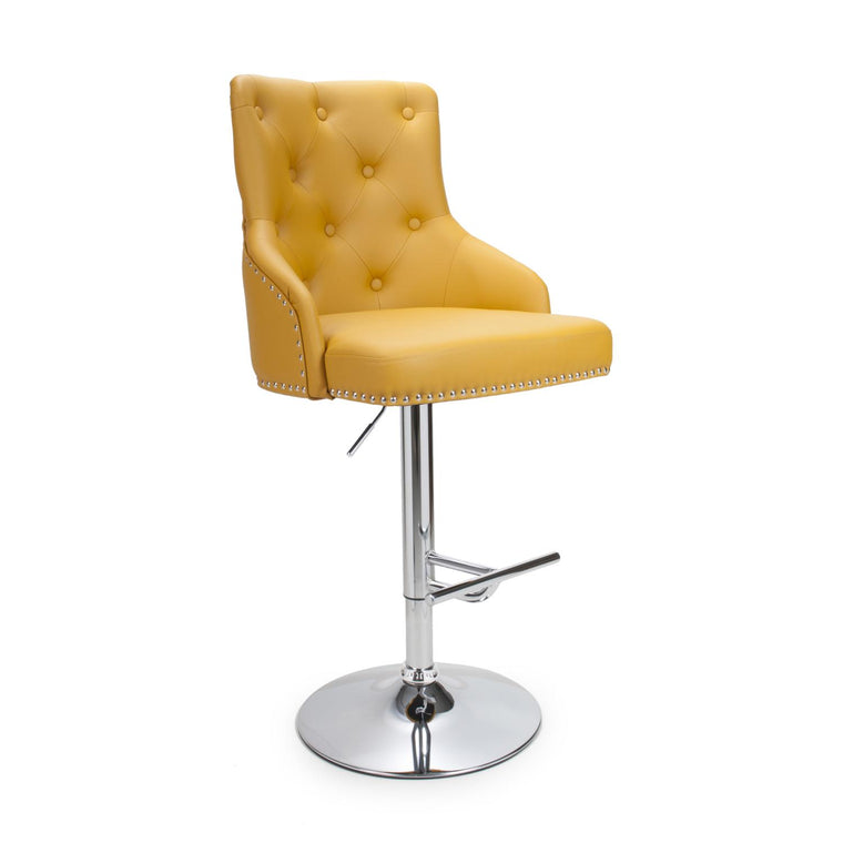 Hawksmoor Yellow Leather Match Luxury Bar Stool